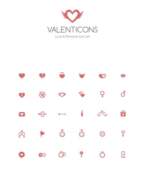 Valenticons – Love & Romance Icon Set