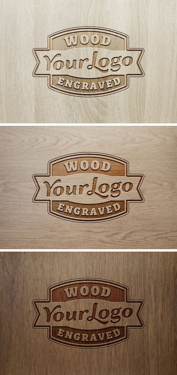 Wood Engraved Logo MockUp 2