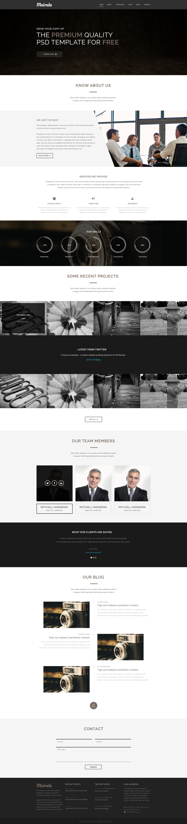 Free One Page Corporate Agency Template