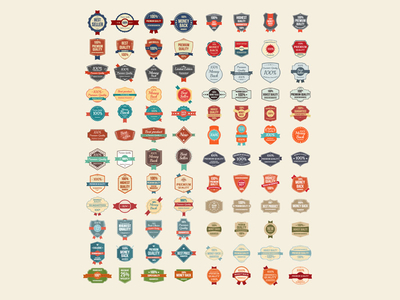 100 Free Vector Vintage Badges, Stickers & Stamps