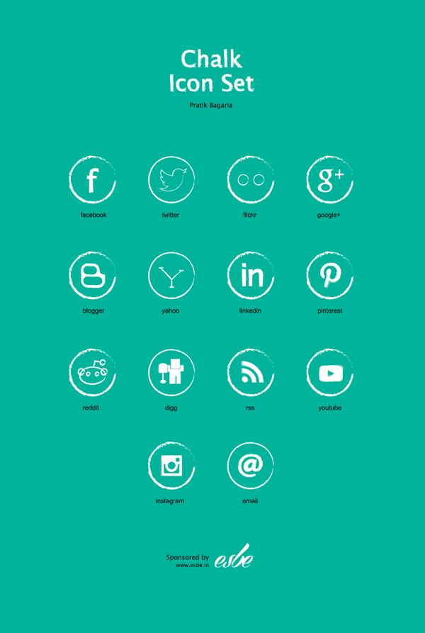 Chalk Free Social Media Icon Set