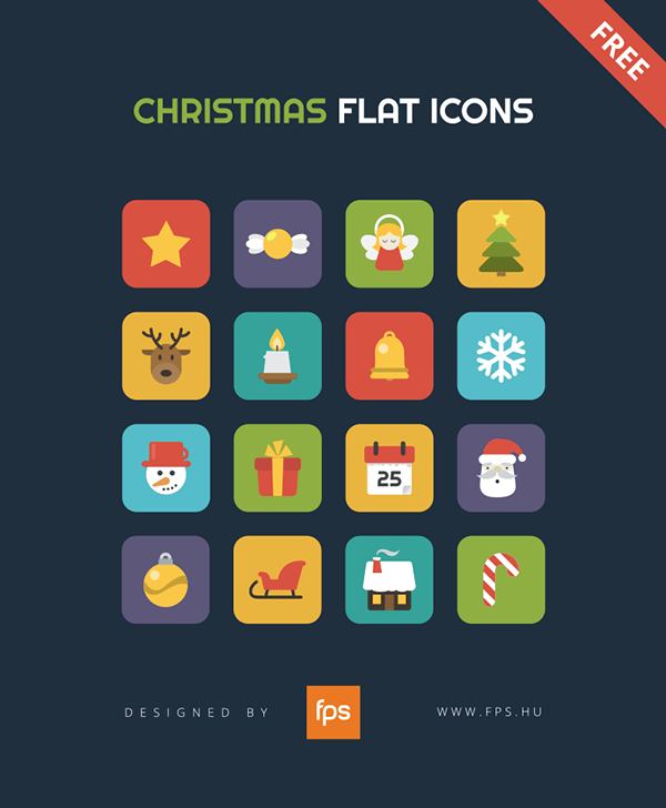 Flat vector Christmas icons for free