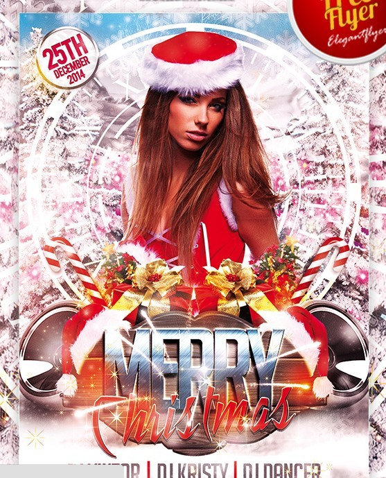 Merry Christmas – Free Club and Party Flyer PSD Template