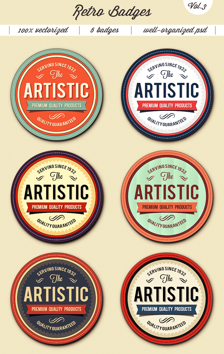 Trendy Retro Badges – Vol.3