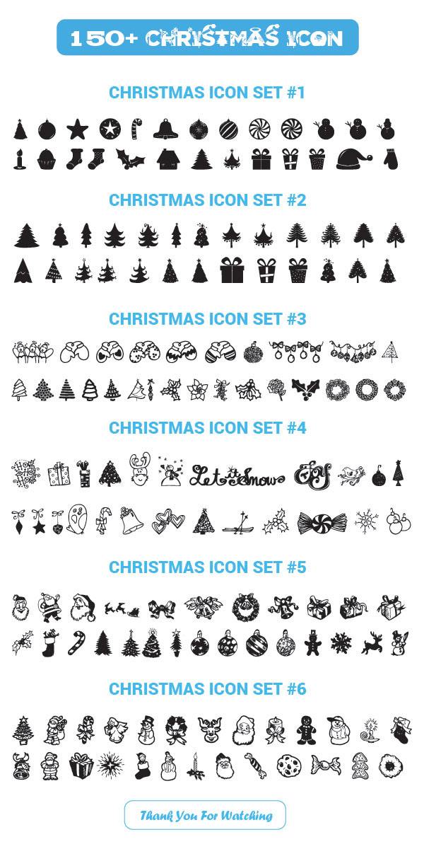 Vector 150+ Christmas Icons