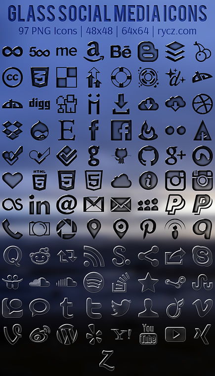 Glass Social Media Icon Pack