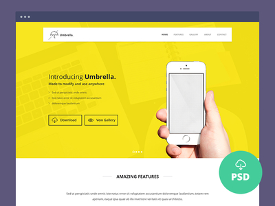 Umbrella - Ultimate App Landing Page PSD Template