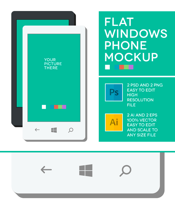Windows Phone Flat Mockup