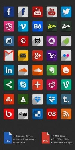 40 Flat Social Icons