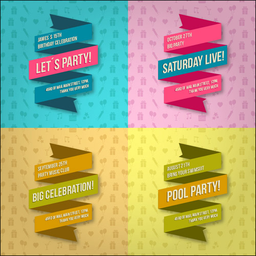 4+ Free PSD Party Lace Banners
