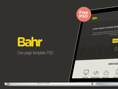 Bahr one page template psd