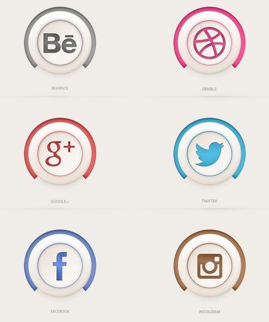 Social Icons ( Semi-3D )