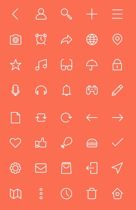 40 outline icons PSD