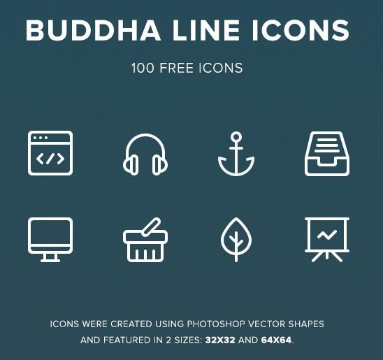 Buddha Line Icons Free
