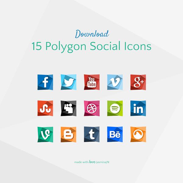 15 Polygon Social Icons