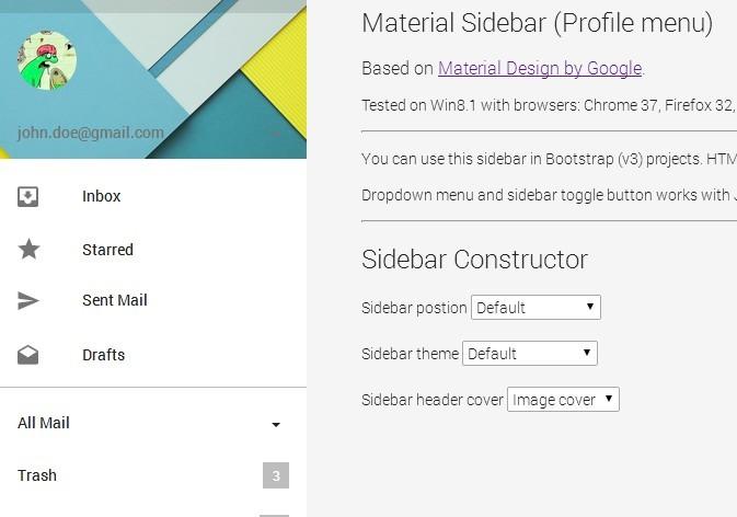 Material Design - Sidebar (Profile menu)