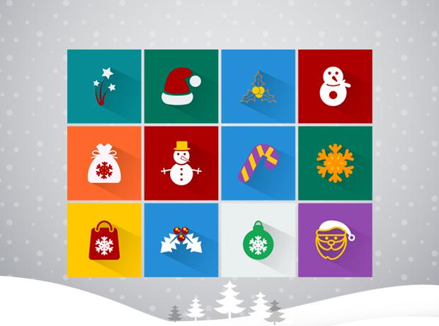 100 Flat Long Shadow Christmas Icons