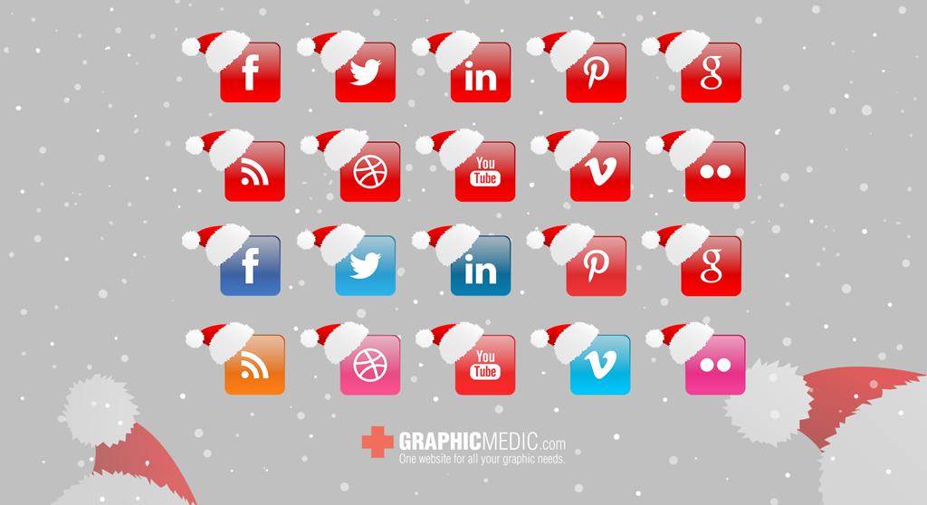 Christmas Vector Social Icons Set