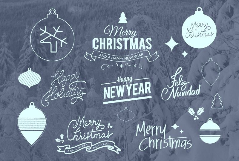 FREE ICONS, BADGES & LETTERING FOR XMAS & NEW YEAR