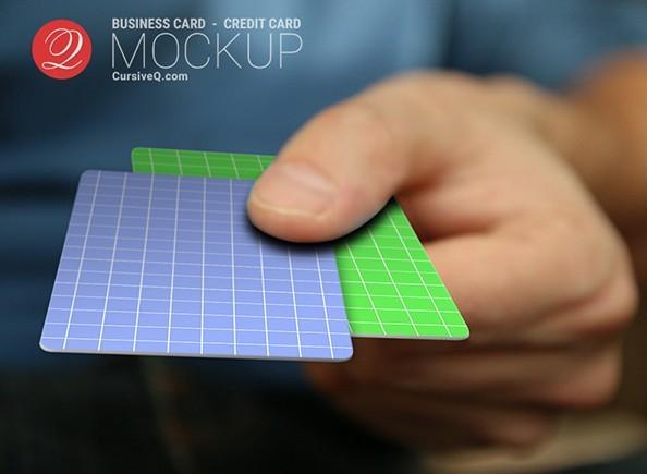 Free Business Card Credit Card Hand Mockup