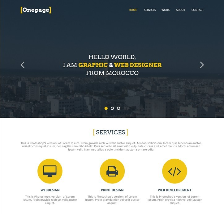 free flat one page website psd template free psd template one pager