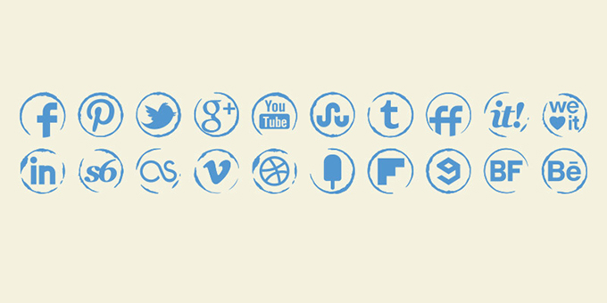 Stamp Social Icons Set