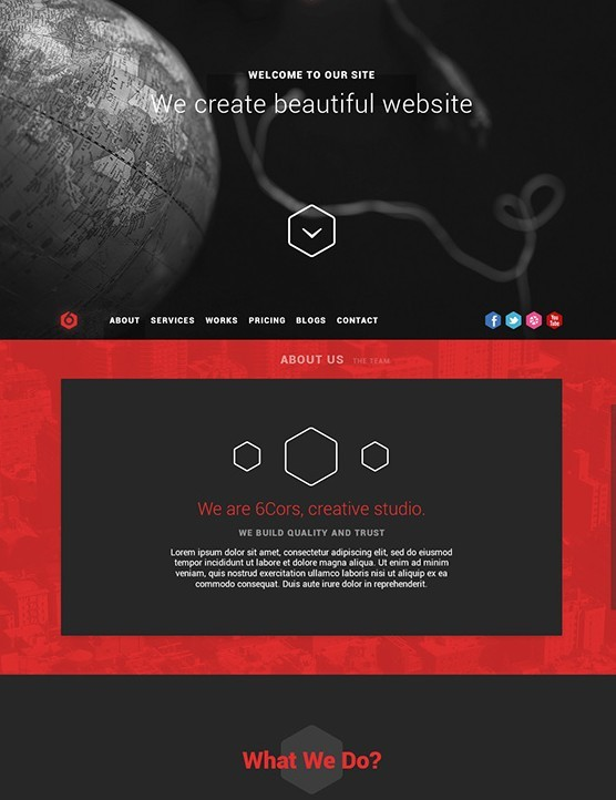6Cors - One Page Portfolio FREE PSD Template