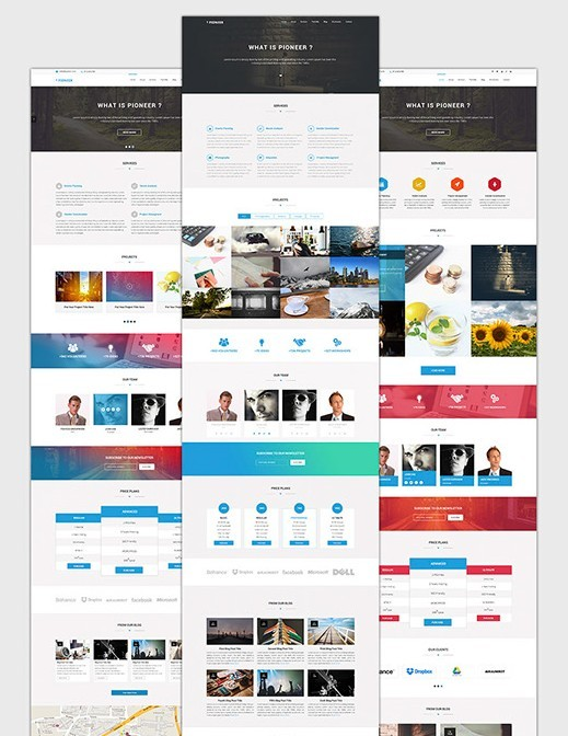 PIONEER One Page PSD Template