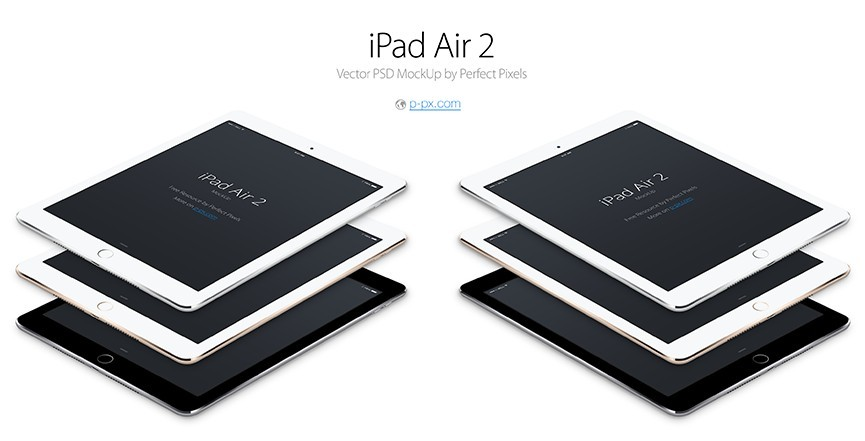 iPad Air 2 Angled Vector PSD MockUp