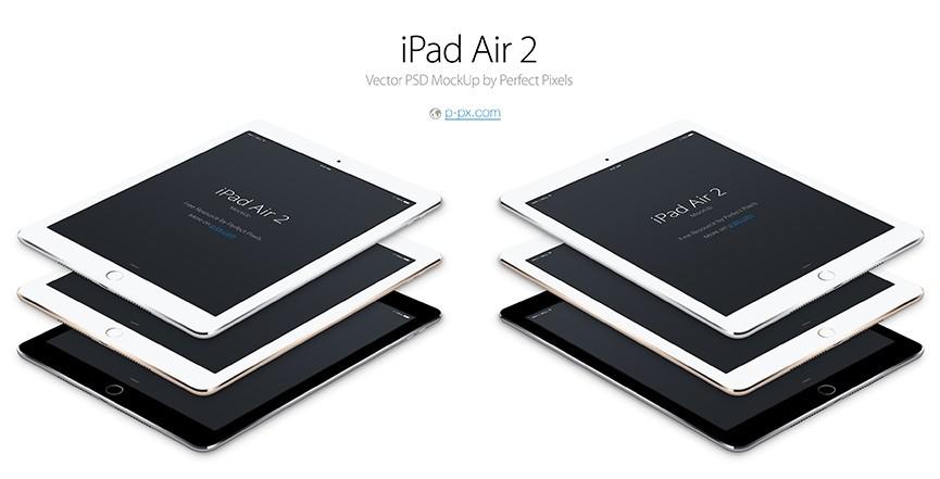 iPad Air 2 Angled Vector PSD MockUp