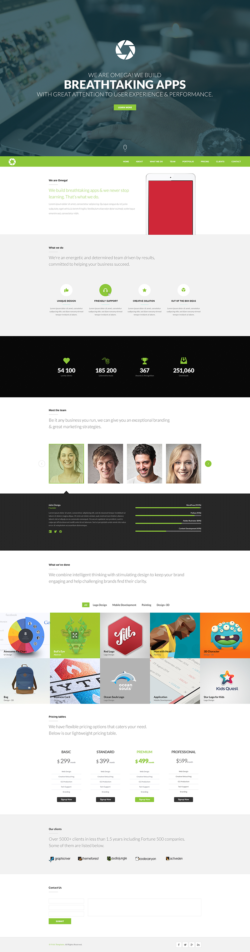 Free One Page Website Template (PSD) – Omega