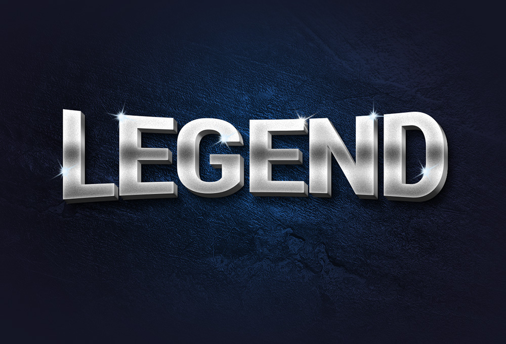 Legend 3D Metal Text Effect