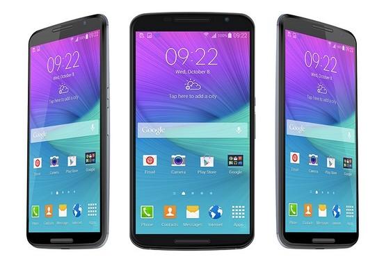 Nexus 6 Front + 3 4 views Vector PSD MockUp