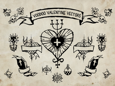 Voodoo Vector Valentines day vector Elements Freebie