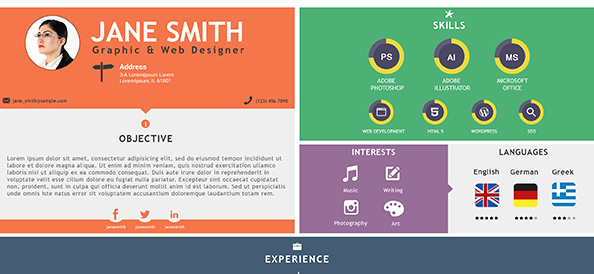 Free PSD Flat and Colorful Resume