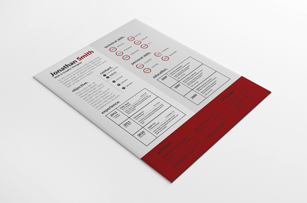 PSD Creative Resume Template vol. 1