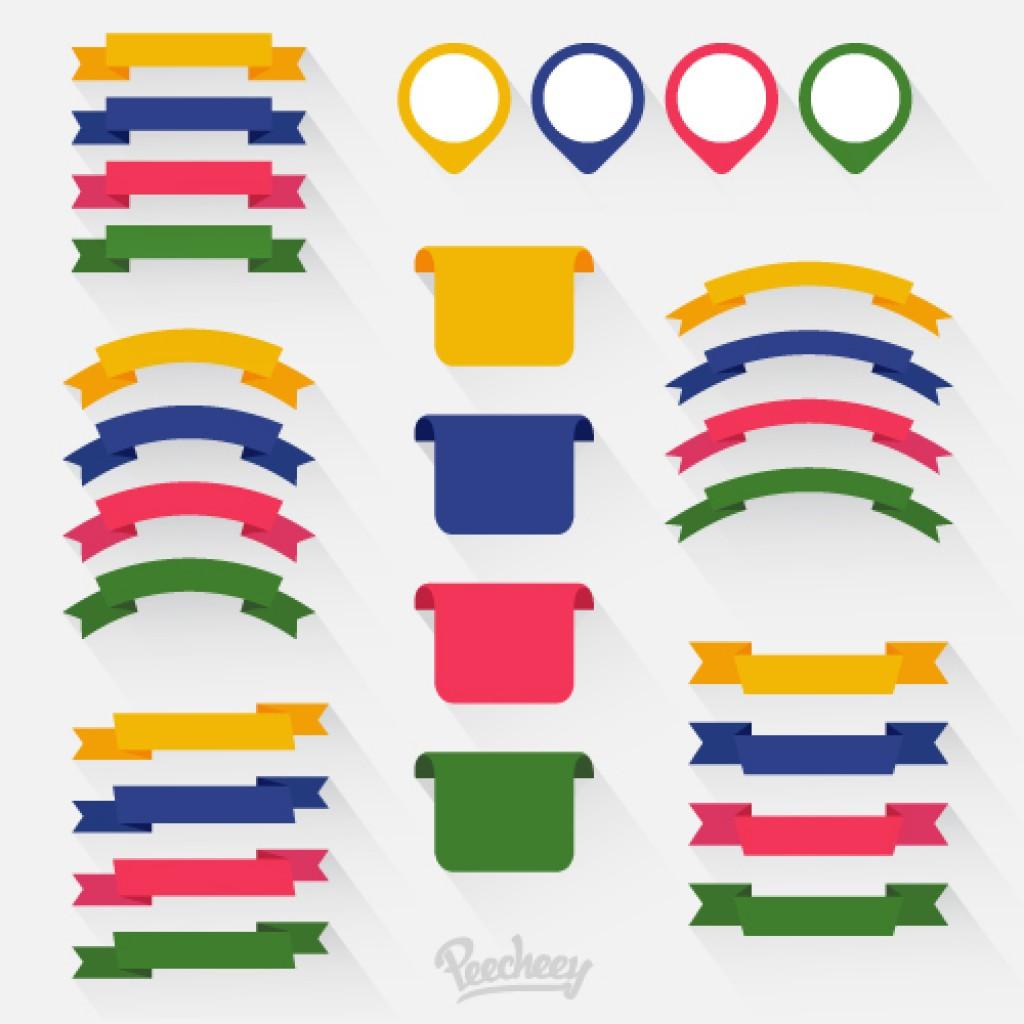 Colorful ribbons long shadow