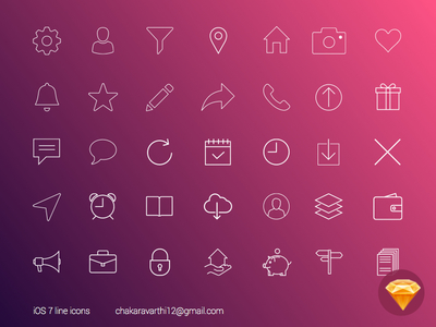 Sketch iOS7 line icons