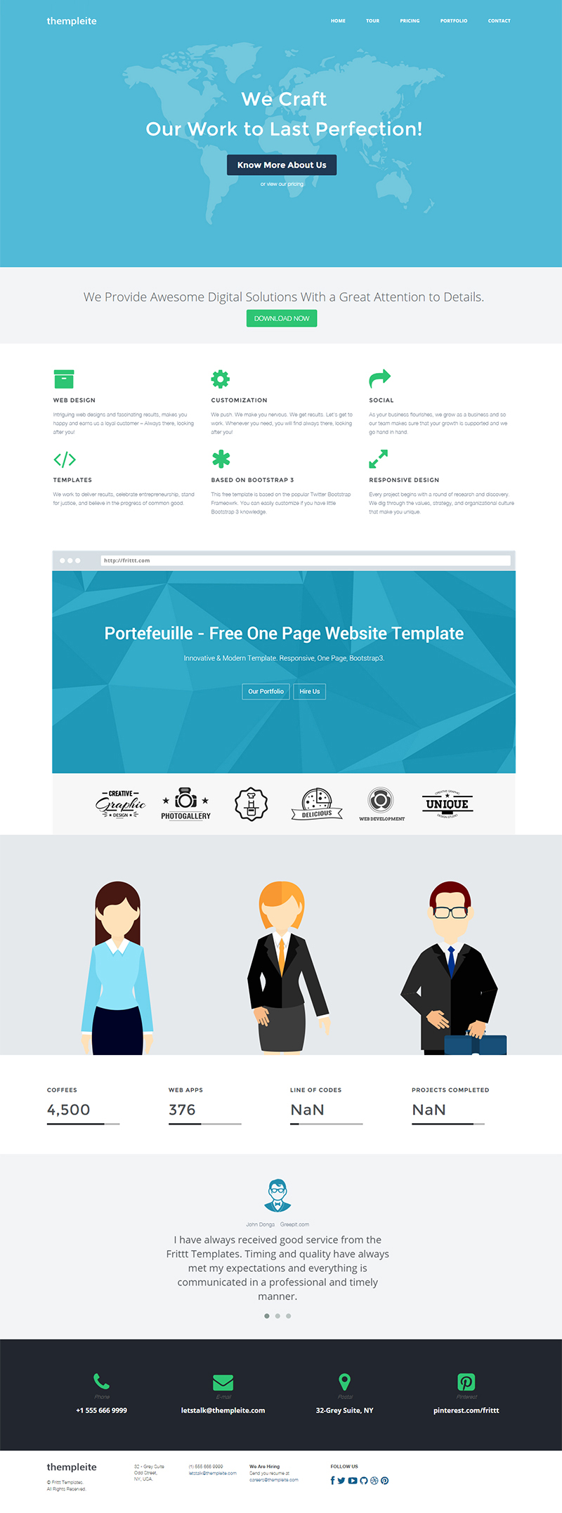 Bootstrap 3 HTML Website Template – thempleite