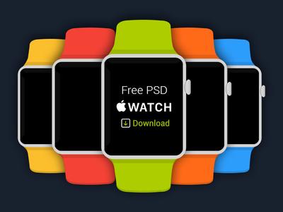 Free Flat Apple iWatch PSD