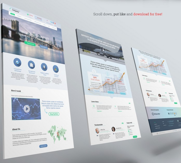 Free PSD Landing Page Investment Company