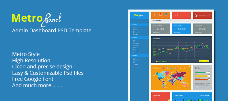 MetroPanel – Admin Dashboard PSD Template