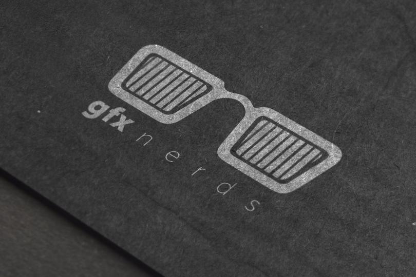 Black cardboard logo mockup PSD