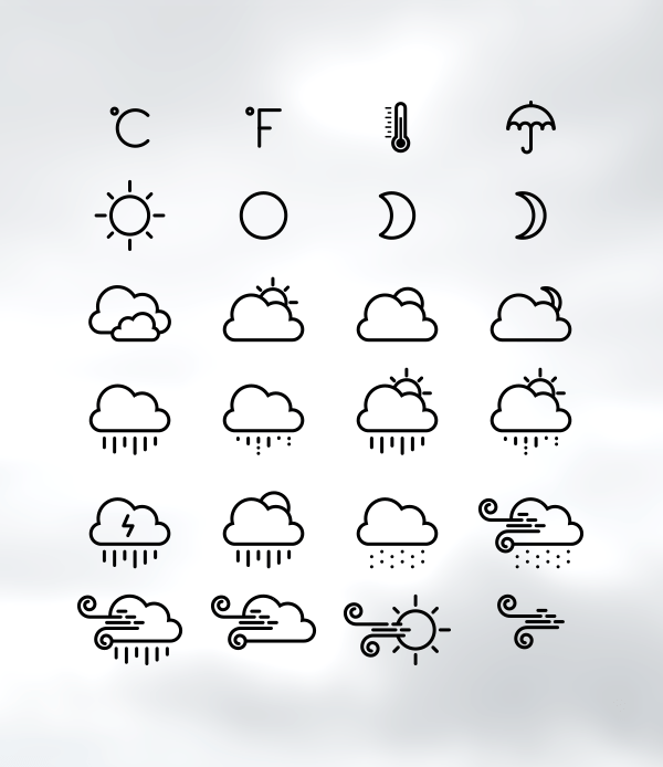 Weather Line Icons Design