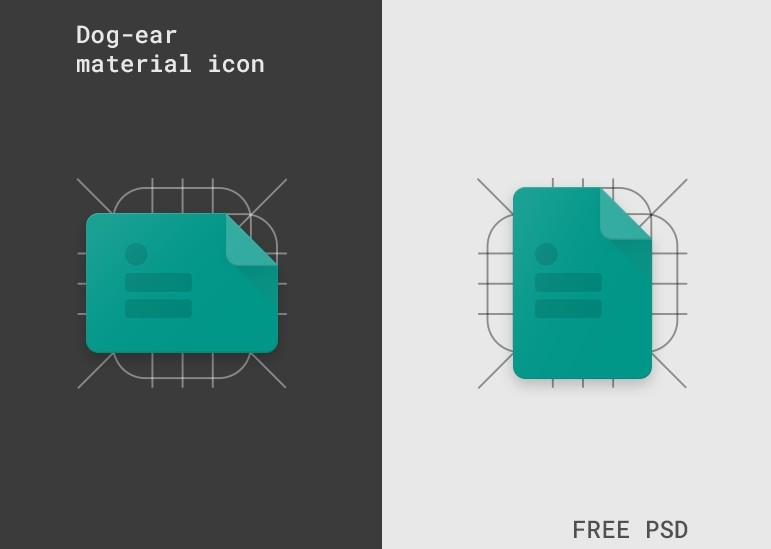 Dog-ear material icon template (Freebie)