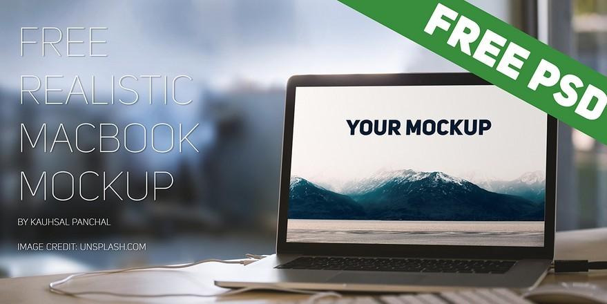 Free Realistic Macbook Mockup PSD