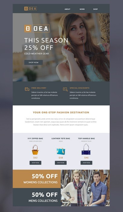 ODEA Email Newsletter PSD Template
