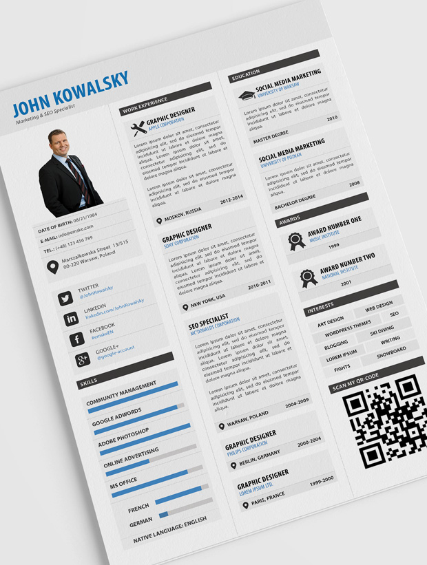 professional resume template - Free Stylish Resume Templates