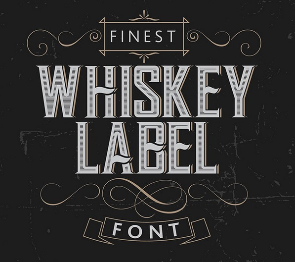 Whiskey Label Vector Font