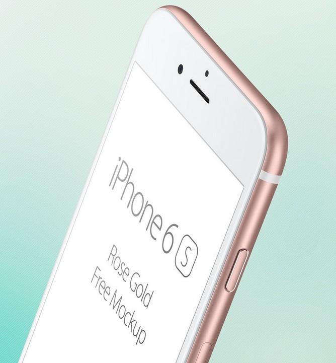 iPhone 6S Rose Gold free mockup